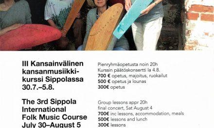 III Kansainvälinen kansanmusiikkikurssi Sippolassa 30.7. – 5.8.2018